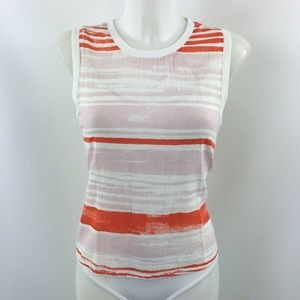 Lilla P Orange Striped Tank Top Size Small